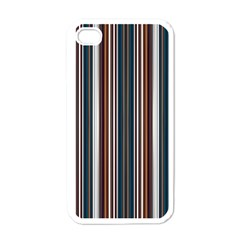 Pear Blossom Teal Orange Brown Coordinating Stripes  Apple Iphone 4 Case (white)