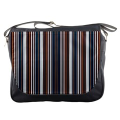 Pear Blossom Teal Orange Brown Coordinating Stripes  Messenger Bags
