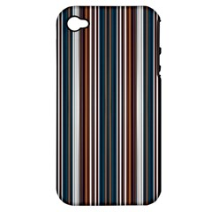 Pear Blossom Teal Orange Brown Coordinating Stripes  Apple Iphone 4/4s Hardshell Case (pc+silicone)