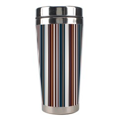 Pear Blossom Teal Orange Brown Coordinating Stripes  Stainless Steel Travel Tumblers