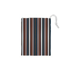 Pear Blossom Teal Orange Brown Coordinating Stripes  Drawstring Pouches (xs)