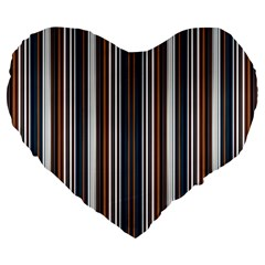 Pear Blossom Teal Orange Brown Coordinating Stripes  Large 19  Premium Flano Heart Shape Cushions