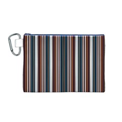 Pear Blossom Teal Orange Brown Coordinating Stripes  Canvas Cosmetic Bag (m)