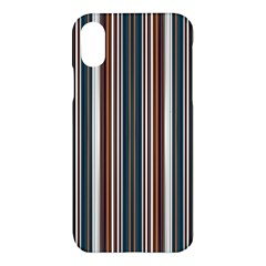 Pear Blossom Teal Orange Brown Coordinating Stripes  Apple Iphone X Hardshell Case