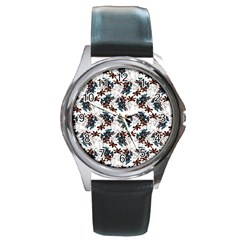 Pear Blossom Teal Orange Brown  Round Metal Watch