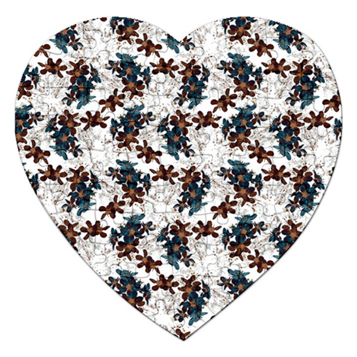 Pear Blossom Teal Orange Brown  Jigsaw Puzzle (Heart)