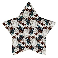 Pear Blossom Teal Orange Brown  Star Ornament (two Sides)