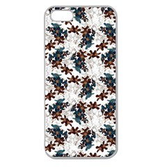 Pear Blossom Teal Orange Brown  Apple Seamless Iphone 5 Case (clear)