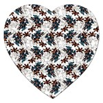 Pear Blossom Teal Orange Brown  Jigsaw Puzzle (Heart) Front