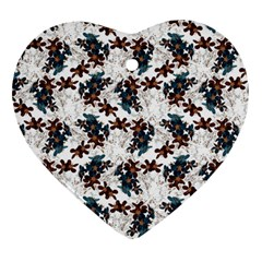 Pear Blossom Teal Orange Brown  Heart Ornament (two Sides)