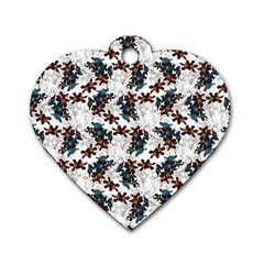 Pear Blossom Teal Orange Brown  Dog Tag Heart (one Side)