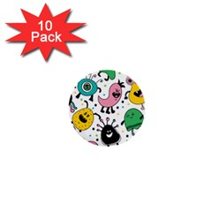 Cute And Fun Monsters Pattern 1  Mini Buttons (10 Pack)