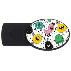 Cute And Fun Monsters Pattern Usb Flash Drive Oval (2 Gb)