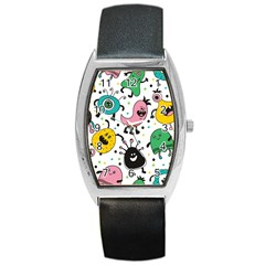 Cute And Fun Monsters Pattern Barrel Style Metal Watch
