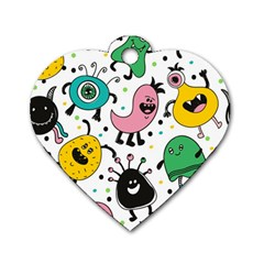 Cute And Fun Monsters Pattern Dog Tag Heart (two Sides)