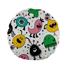 Cute And Fun Monsters Pattern Standard 15  Premium Round Cushions