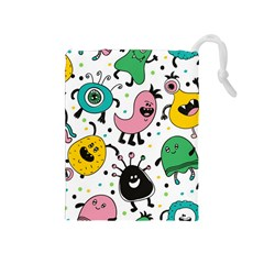 Cute And Fun Monsters Pattern Drawstring Pouches (medium)