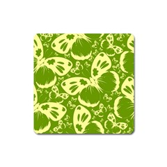 Pale Green Butterflies Pattern Square Magnet