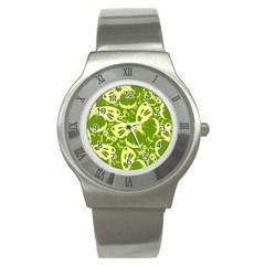Pale Green Butterflies Pattern Stainless Steel Watch