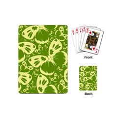Pale Green Butterflies Pattern Playing Cards (mini)