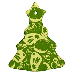 Pale Green Butterflies Pattern Christmas Tree Ornament (two Sides)