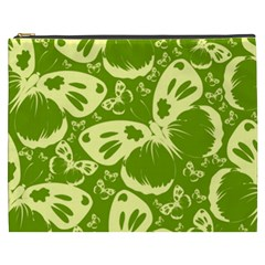 Pale Green Butterflies Pattern Cosmetic Bag (xxxl)