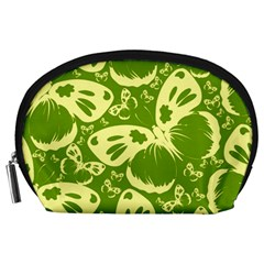 Pale Green Butterflies Pattern Accessory Pouches (large)