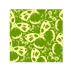 Pale Green Butterflies Pattern Small Satin Scarf (square)