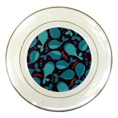 Blue Whale Pattern Porcelain Plates