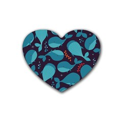 Blue Whale Pattern Heart Coaster (4 Pack)