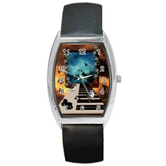 Music, Piano With Birds And Butterflies Barrel Style Metal Watch