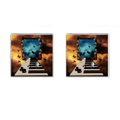 Music, Piano With Birds And Butterflies Cufflinks (square)