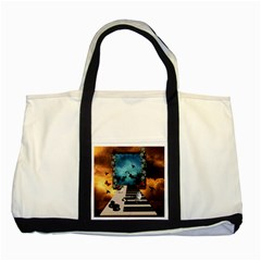 Music, Piano With Birds And Butterflies Two Tone Tote Bag