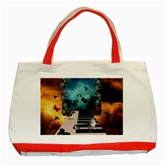 Music, Piano With Birds And Butterflies Classic Tote Bag (red)
