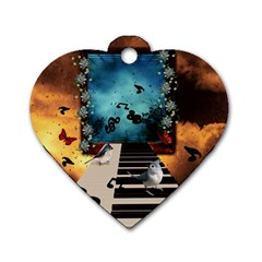 Music, Piano With Birds And Butterflies Dog Tag Heart (one Side)