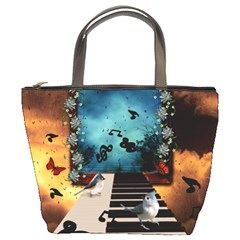 Music, Piano With Birds And Butterflies Bucket Bags