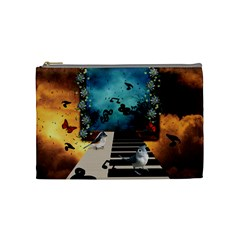 Music, Piano With Birds And Butterflies Cosmetic Bag (medium)