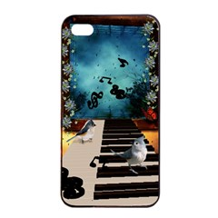 Music, Piano With Birds And Butterflies Apple Iphone 4/4s Seamless Case (black)