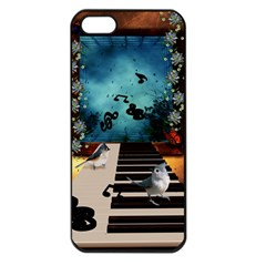 Music, Piano With Birds And Butterflies Apple Iphone 5 Seamless Case (black)