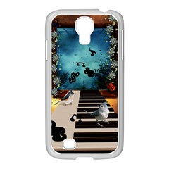 Music, Piano With Birds And Butterflies Samsung Galaxy S4 I9500/ I9505 Case (white)