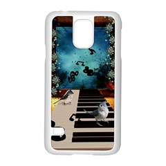 Music, Piano With Birds And Butterflies Samsung Galaxy S5 Case (white)