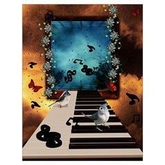 Music, Piano With Birds And Butterflies Drawstring Bag (large)