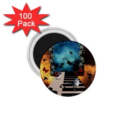 Music, Piano With Birds And Butterflies 1 75  Magnets (100 Pack)