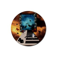 Music, Piano With Birds And Butterflies Rubber Round Coaster (4 Pack)