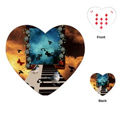 Music, Piano With Birds And Butterflies Playing Cards (heart)