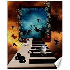 Music, Piano With Birds And Butterflies Canvas 16  X 20