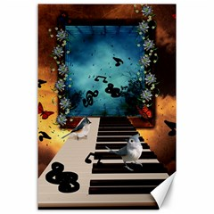 Music, Piano With Birds And Butterflies Canvas 24  X 36