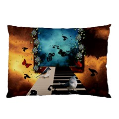 Music, Piano With Birds And Butterflies Pillow Case
