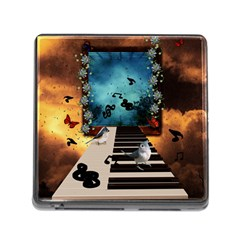 Music, Piano With Birds And Butterflies Memory Card Reader (square)