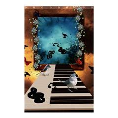Music, Piano With Birds And Butterflies Shower Curtain 48  X 72  (small)